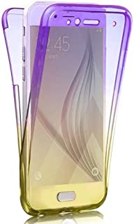 Clear Silicone Case for Samsung Galaxy S9,Aoucase Ultra Thin 360 Full Body Soft Gel Rubber Shockproof Non-Slip Front and Back Case with Black Dual-use Stylus,Purple + Gold