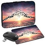 PEDEA Design Schutzhülle Notebook Tasche bis 17,3 Zoll (43,9cm) mit Mauspad & schnurloser Maus, Freedom