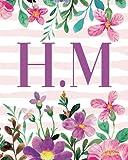 H.M: Monogram Initials H M Notebook For Women & Girls, Floral Monogram 8 x 10', Monogrammed Journal Gift