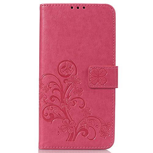 Capa para Sony Xperia XZ3 Bookstyle, capa carteira de couro PU Clover flip (rosa)