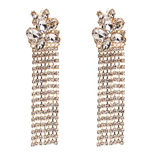 WANG XIN Pendientes de Borla de múltiples Capas de Flores de Diamantes. Pendientes de Moda de Mujer.