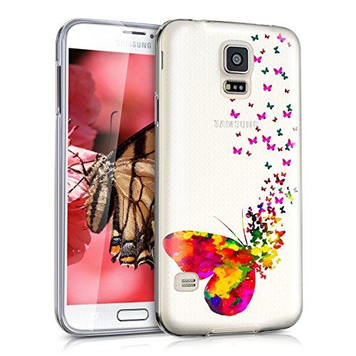 kwmobile Hülle kompatibel mit Samsung Galaxy S5 / S5 Neo - Handyhülle - Handy Case Schmetterling Schwarm Mehrfarbig Pink Transparent