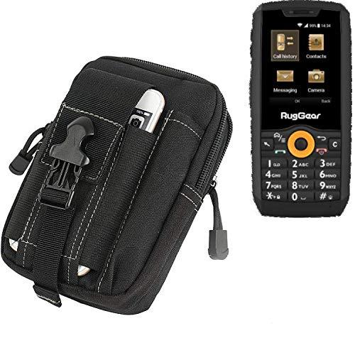 K-S-Trade Gürtel Tasche Für Ruggear RG150 Gürteltasche Holster Schutzhülle Handy Hülle Smartphone Outdoor Handyhülle Schwarz Zusatzfächer