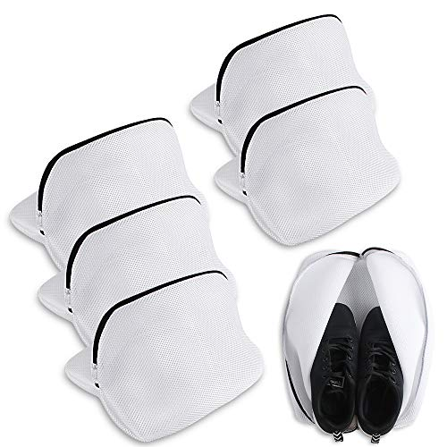 Heqishun 5 Pcs Saco Lavadora para Zapatos, Multi-Protectora Bolsas De Lavado para Zapatos con Cremallera Bolsa para Lavar Zapatos De Malla