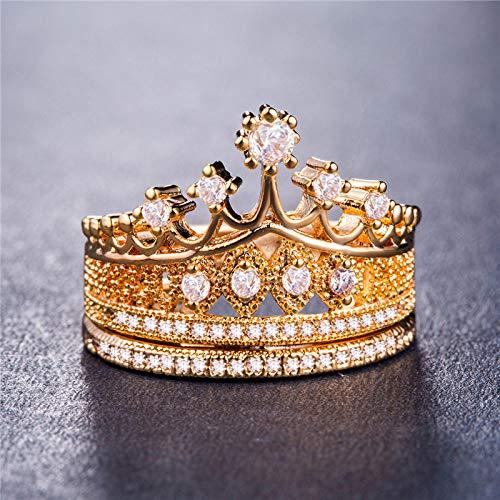 DGSDFGAH Ring Womens,Golden Rhinestone Large Heart-Shaped Crown Pattern Ladies Ring Anniversary Girl Gift Elegant Female Prom Fashion Jewelry Ring, 7