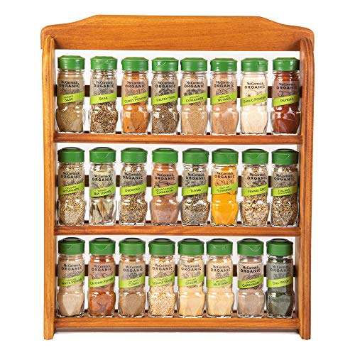 McCormick Gourmet Three Tier Wood 24 Piece Organic Spice Rack Organizer with Spices Included, 27.6 oz