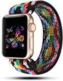 JimBird Stretchy Sport Loop Strap Compatible for Apple Watch Band 38mm 40mm 42mm 44mm iWatch Series 6/SE/5/4/3/2/1 Stretch Elastics Wristband (Boho, 38/40mm for Small Wrist)