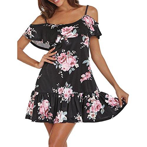 AMUSTER Damen Kleid Frauen Sommerkleid Cold Shoulder Floral Mini Kleid Spaghetti Strap Strandkleid Mode Kleid Kurz Hemdkleid Blusekleid Kleidung (XL, Schwarz)