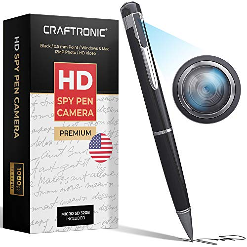 Craftronic Mini Spy Camera 1080P HD Recording (with 32GB Memory Card)   Spy Gear Body Camera Portable Pocket   Business Conference and Security   Support up to 128GB (Lacquer Black)