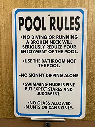 Cartel de metal vintage – Reglas de la piscina – Cartel de decoración rectangular de aluminio divertido arte de pared, fácil de montar, 9 x 14 pulgadas