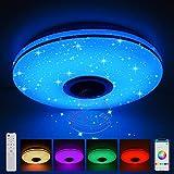 Gindoly 36W LED Musik Deckenleuchten mit Bluetooth Lautsprecher, Fernbedienung oder APP-Steuerung...