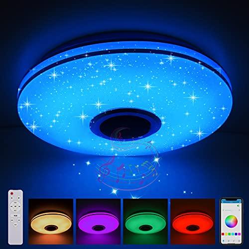 LED Musik Deckenleuchten, Dimmende intelligente Fernbedienung mit 4.0 Bluetooth Lautsprecher Smartphone App und dimmbare RGBW Farbtemperatur,Einstellbar für Schlafzimmer Küche Kinderzimmer Wohnzimmer