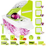 Sedhoom Vegetable Chopper Vegetable Cutter 23 PCS Veggie Slicer Chopper Food Chopper Onion Chopper Mandoline Slicer w/ Container Large