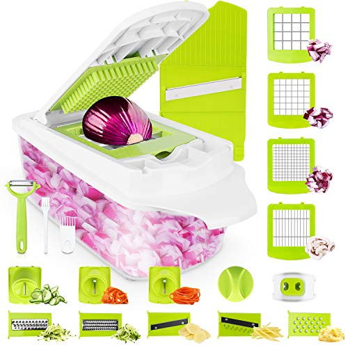 Sedhoom 23 in 1 Vegetable Chopper Food Chopper Onion Chopper Mandoline Slicer w/Large Container, 2nd Generation …
