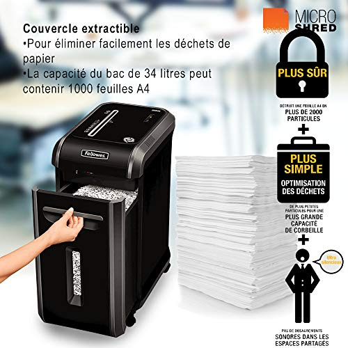 Fellowes 99Ms Destructeur de documents professionnel 12 feuilles Noir