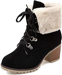 Women Winter Ankle Booties with Block Heels Lace Up Fur Shoes Classic Warm Snow Boots