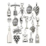 WOCRAFT 50pcs Craft Supplies Antique Silver Tasting Wine Grape Cocktail Glass Wine Opener Charms for Jewelry Making Findings Crafting Accessory for DIY Necklace Bracelet (M307)