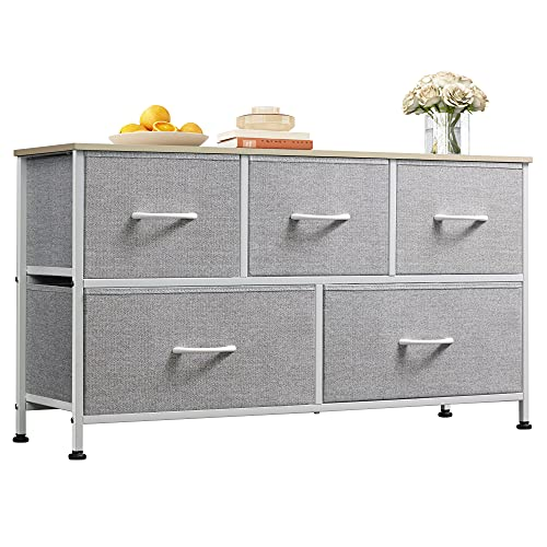 WLIVE 5 Drawer Dresser for Bedroom Organization and Storage; Fabric Drawer Organizer for Clothes and Sweater Storage; Kids Small Dresser for Room Organization and Storage Solutions