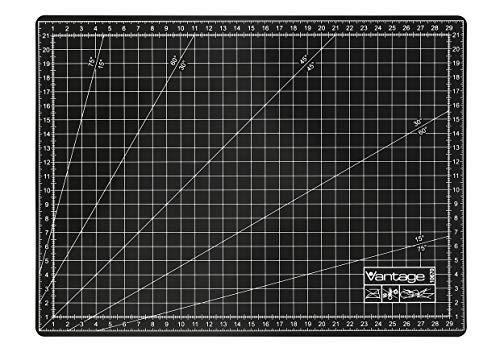 Vantage Schneidematte A4 (22 x 30 cm, selbstheilend, beidseitig nutzbar, mit Raster) schwarz