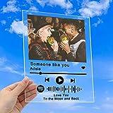 Arte de Vidrio de Spotify Personalizado Placa de Foto de Código de Spotify Escaneable Personalizada, Cubierta De Álbum de Canción de Acrílico Personalizada,Regalo de San Valentín