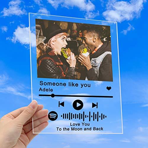 Personalizzata Spotify Glass Art Personalizzata con Codice Spotify Scansionabile, Copertina per Album in Acrilico Personalizzato