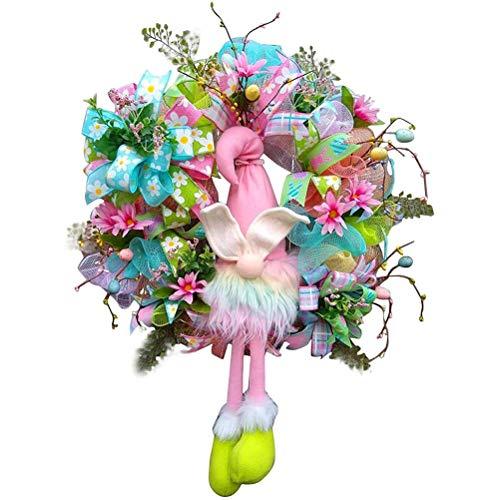 Wopohy Corona decorativa de Pascua, color rosa, decoración de puerta de Pascua sin rostro, muñeca de elfo guirnalda de colores para decoración de pared del hogar