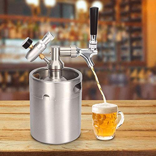 'N/A' Mini dispensador de Barril de Cerveza de Acero Inoxidable de 5L, Sistema de elaboración de Cerveza con Kit de Grifo Ajustable para Cerveza Artesanal, Cerveza de Barril y Cerveza casera