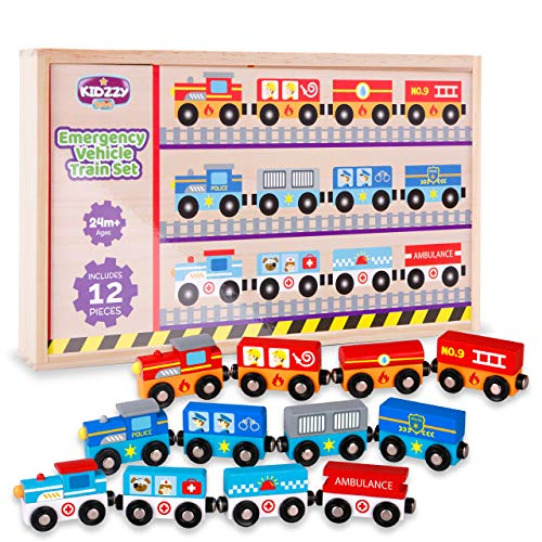 Wooden Train Set with Box and...