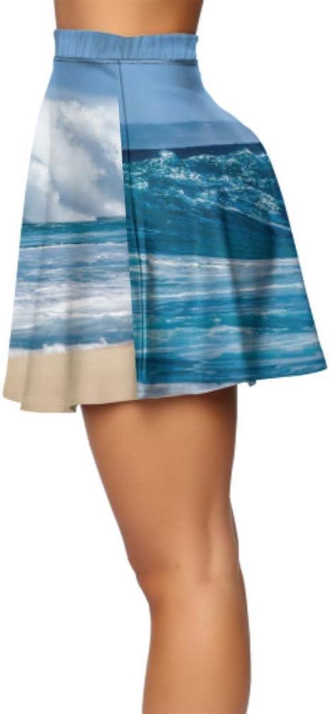 Womens Mini Skirts Big Breaking Ocean Wave On A Beach High Waist Mini Skirts for Women Women's Basic Casual Mini Skirts for Women Summer S-XL