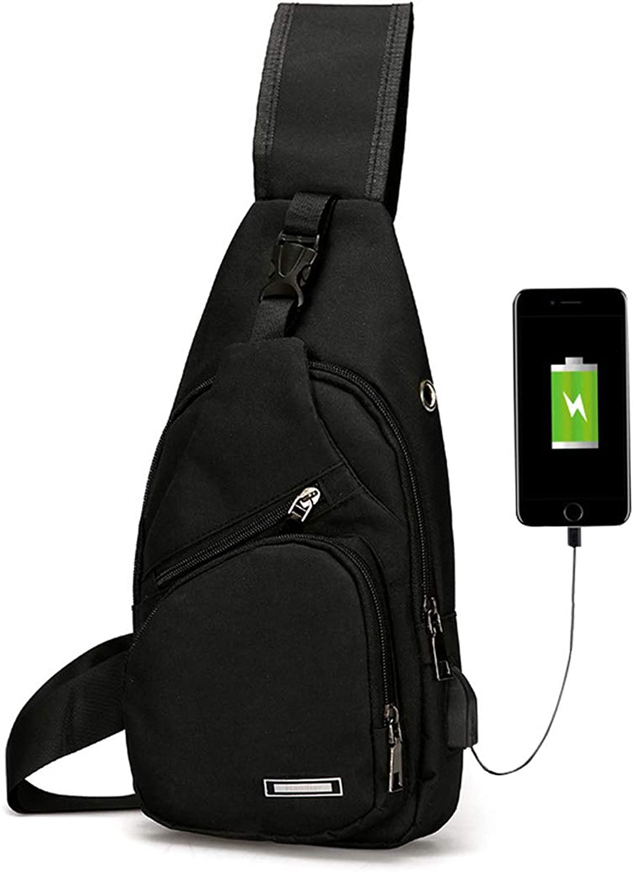 Men's Women's Outdoor Sling Bag Shoulder Messenger Crossbody Pack with USB Charge Port Casual Bag
