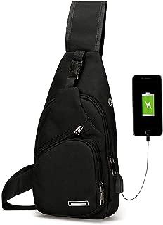 Men's Women's Sling Chest Shoulder Bag Outdoor Travel Crossbody Backpack with USB Charging Port