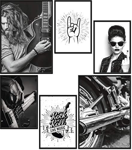 Papierschmiede® Premium Poster Set Rock & Roll | 6 Bilder als stilvolle Wanddeko | 2X DIN A4 und 4X DIN A5 | Musik Gitarre Motorrad