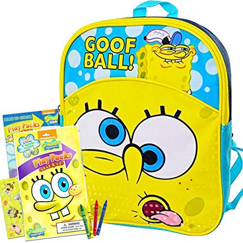 Spongebob Squarepants Mini Backpack for Boys Girls Toddler Preschool ~ Deluxe 11' Spongebob Backpack with Stickers (Spongebob School Supplies Bundle)