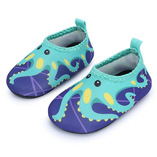 JIASUQI Summer Casual Skin Water Shoes Socks for Baby,Sand Swim Surf Aerobics,Green Octopus 12-18 Months