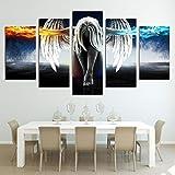 Cuadro en Lienzo HD Impreso Arte de Pared Moderno imágenes de Anime 5 Piezas decoración del hogar Ángel con alas Diablo Chica Carteles