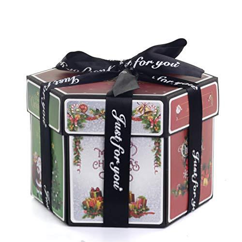 HHOSBFSS Caja De Regalo De Sorpresa Hexagonal, DIY Hecho A Mano Scrapbook Foto Álbum De Regalo De Boda Día De San Valentín Navidad (Color : Christmas)