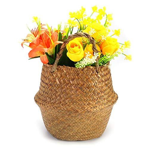 Tutoy Opvouwbare bloemenbehuizing-stro-opbergmand Flower vaas handgemaakte hangmand huisdecoratie