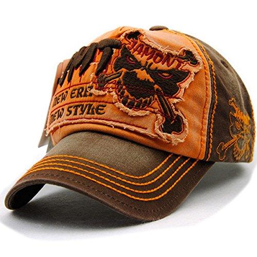 Baseballcap Fight Skull Distressed Snapback Vintage Used Look Golf Sport Outdoor Kappe Mütze Cap Schirmmütze Basecap verstellbar (orange)
