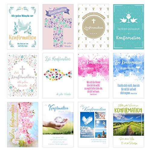 Edition Seidel Set 12 Premium Konfirmationskarten mit Umschlag (Doppelkarten/Klappkarten mit Briefumschlag) Karte Postkarte Konfirmation