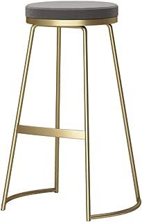 Modern Bar Stool Breakfast Kitchen High Stool Round Seat Counter Stool Footrest Design (Material: Wrought Iron + Velvet, 65 / 75CM) (Color : Gray Cushion, Size : Gold leg-65cm)