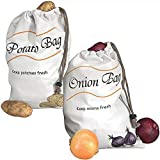 Reusable Produce Storage Bags,2 Pack Vegetable Bags Potato Onion Storage Keeper Holder Bags Muslin Veggie Bags,Large / 10' X 16'