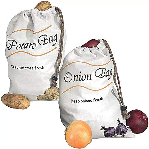 Wiederverwendbare Aufbewahrungsbeutel für Gemüse, Kartoffeln, Zwiebeln, Musselin, Gemüse, 2 Stück