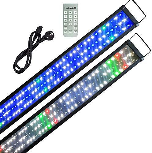 Powerdelux Aquarium LED Beleuchtung, Automatisiertes voll Spectrum Aquarium Lampe mit Fernbedienung, für Wasserpflanzen und Süßwasser-Aquarien mit Skalierbare Halterung (90-110cm)