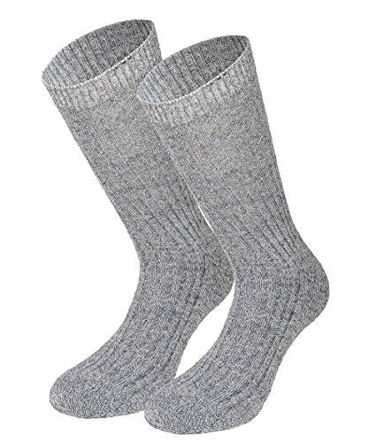 Tobeni 3 Pares de Calcetines Noruegos sin Pretina de Goma amigable para las Venas - Suela de Felpa 100% Lana Color Gris Tamano 43-46