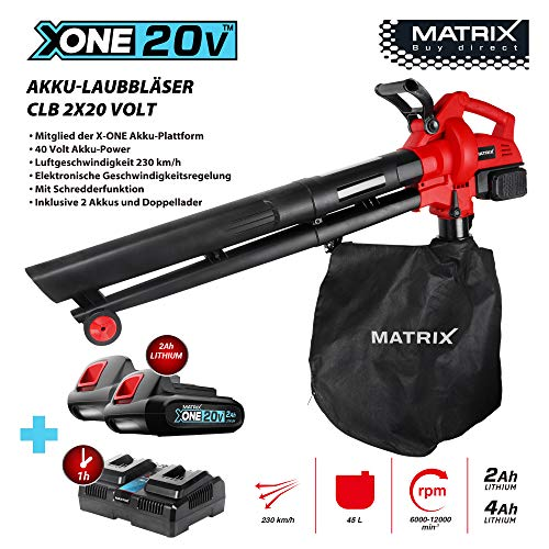 Matrix 511010595 CLB bladzuiger, accu, met hakselfunctie, elektronische toerentalregeling, 230 km/u luchtsnelheid, 45L opvangzak, rood, zwart