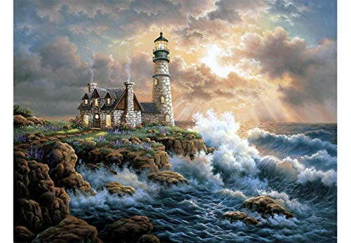 CANDYL DIY Oil Painting Paint by Number Kit for Kids Adults Students Beginner DIY Canvas Painting by Numbers Acrylic Oil Painting Arts Craft for Home Wall Decoration Lighthouse 16x20 Inch