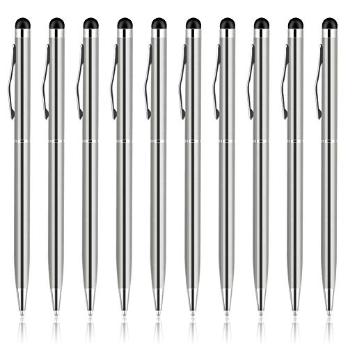 Stylus Pen, UROPHYLLA Stylus Pens for Touch Screens, 2 in 1 Capacitive Stylus Ballpoint Pen Stylus for iPad, Tablet, iPhone, Kindle, Samsung and Other Touch Screen Devices (Silver-10Pack)