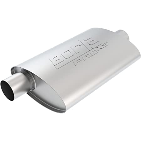 Borla 40358 Borla Pro XS Muffler Center/Offset Oval 2.5 in. Inlet 2.5 in. Outlet 14 in. x 4.0 in. x 9.5 in. Case Size 19 in. Overall Length Unnotched T-304 Stainless Steel Borla Pro XS Muffler