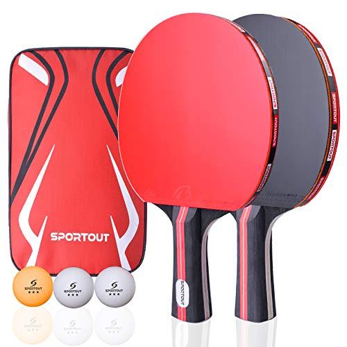 Easyroom Juego de raqueta de ping pong, 2 paletas y 3 pelotas de ping pong (logotipo de Sportout) (Beginner Play)