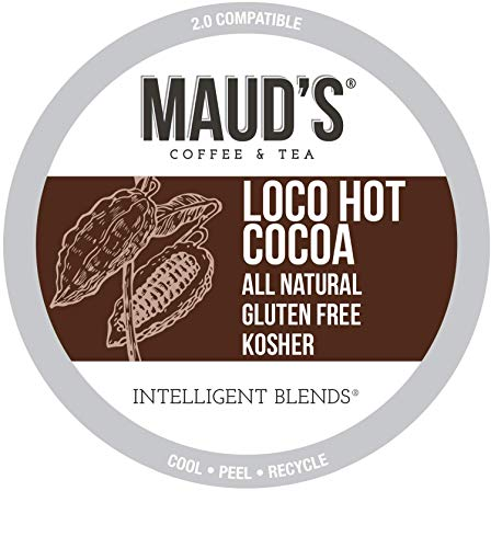 Maud's Hot Chocolate (Loco Hot Cocoa), 50ct. Recyclable Single Serve Dairy Free Hot Cocoa Pods – 100% California Blended Hot Chocolate Mix, Hot Chocolate K Cup Compatible Including 2.0